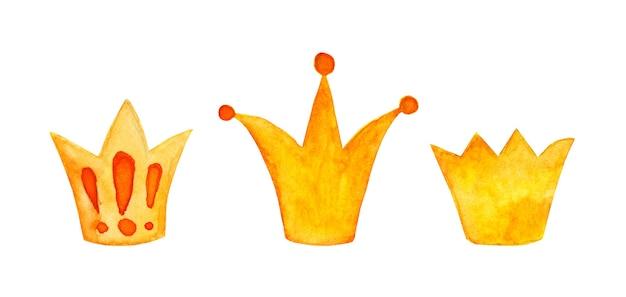 Aquarellmalerei-set von kronensymbolen für junge prinzen oder prinzessinnen im doodle-stil