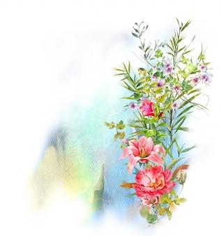 Aquarellmalerei von blättern und von blume