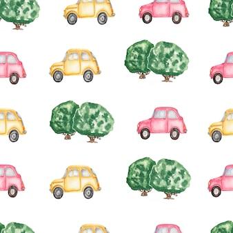 Aquarellmuster des gelben und roten autos, grüner baum