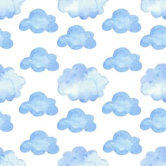 Aquarellmuster mit blauen wolken. nahtlose elemente