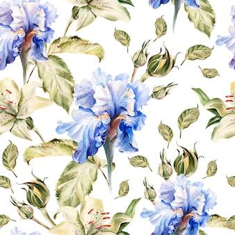 Aquarellmuster mit blumen iris, rosen, knospen und blütenblättern. illustration