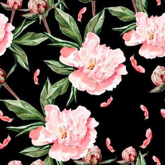 Aquarellmuster mit blumen, pfingstrosen, knospen und blütenblättern. illustration