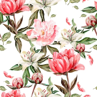 Aquarellmuster mit blumen, pfingstrosen und lilien, knospen und blütenblättern. illustration