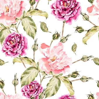 Aquarellmuster mit blumen, pfingstrosen und rosen, knospen und blütenblättern. illustration