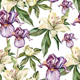 Aquarellmuster mit blumeniris, pfingstrosen und lilien, knospen und blütenblättern. illustration