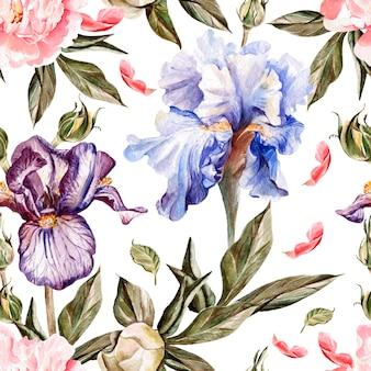 Aquarellmuster mit blumeniris, pfingstrosen und rosen, knospen und blütenblättern. illustration