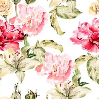 Aquarellmuster mit blumenlilien, pfingstrosen und rosen, knospen und blütenblättern. illustration