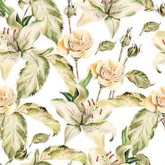 Aquarellmuster mit blumenlilien, rosen, knospen und blütenblättern. illustration