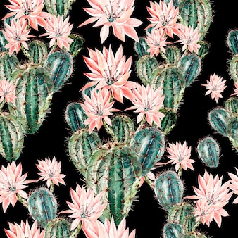 Aquarellmuster mit kaktus. illustration