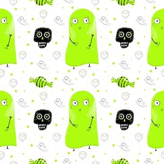 Aquarellmuster von grünen geistern, süßigkeiten und schädeln