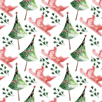 Aquarellmuster-weihnachtsfeiertagsdekor