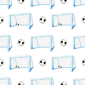 Aquarellmusterillustration des fußballtors und des balls nahtloser wiederholender fußballsportdruck