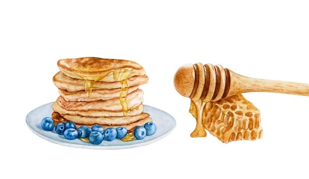 Aquarellpfannkuchen mit blaubeeren, honig.