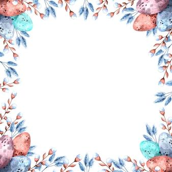 Aquarellquadratrahmen mit bunten ostereiern und weidenzweigen für ostern auf einem weißen hintergrund, frohe ostern - illustration für feiertage, verpackung, postkartenschablone