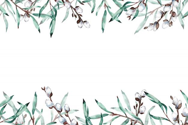 Aquarellrahmen der weidenkätzchen verzweigt sich mit kopienraum. illustration.