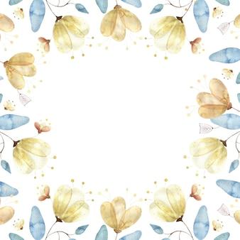 Aquarellrahmen mit goldenen blütenknospen, großen abstrakten blüten und blättern auf weiß