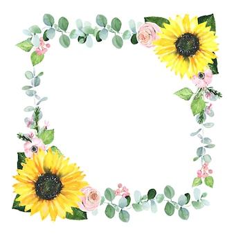 Aquarellrahmen mit grün und sonnenblume. handgezeichnete grenze