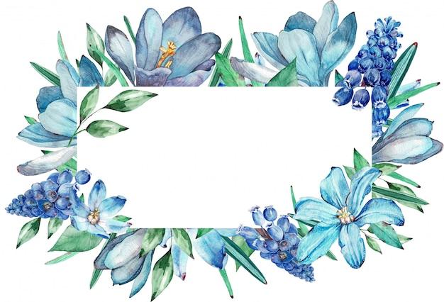 Aquarellrahmen von blauen frühlingsblumen. illustration.