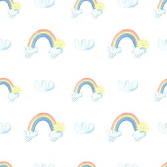 Aquarellregen, regenbogen, wolken, sonne auf weißem hintergrund
