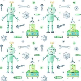 Aquarellroboter und werkzeugmuster auf weißem hintergrund.