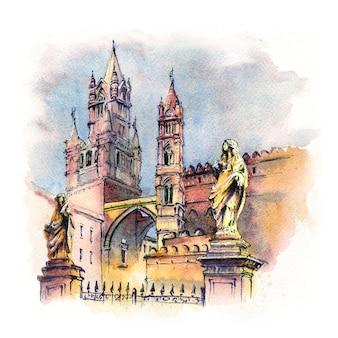 Aquarellskizze der metropolitankathedrale mariä himmelfahrt in palermo