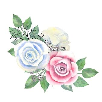 Aquarellstrauß aus weißen und rosa rosen, dekorativen zweigen und blättern