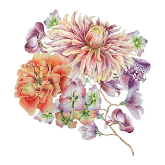 Aquarellstrauß mit blumen. dahlie. ringelblume. orchidee. handgemalt.