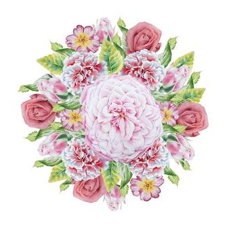 Aquarellstrauß mit blumen. rose. primel. ringelblume. illustration. handgemalt.