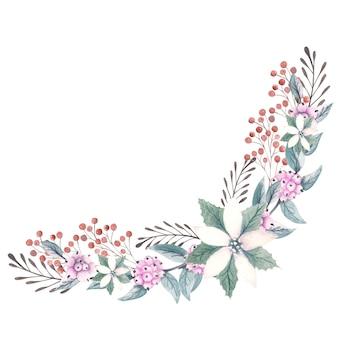 Aquarellstrauß mit weihnachtssternblumen, roten beeren und dekorativen zweigen