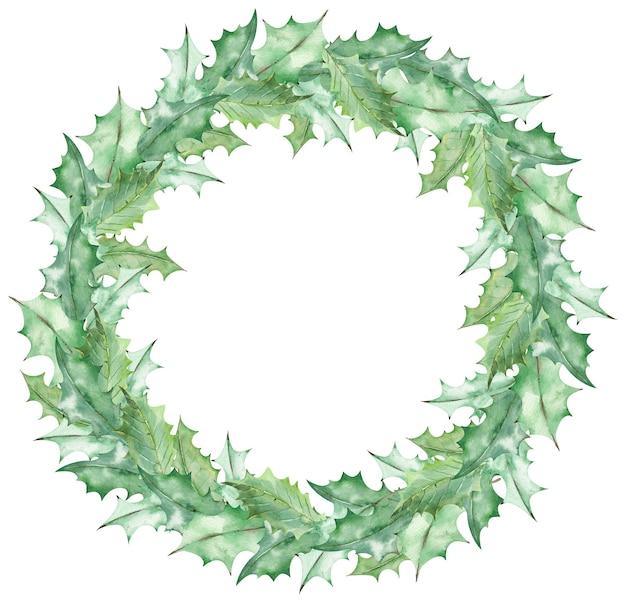 Aquarellweihnachtsgrün-mistelblattkranz. hand gezeichnete neujahrsschablone lokalisiert auf dem weißen hintergrund.