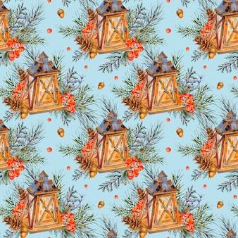 Aquarellweinlese weihnachtsnahtloses muster mit rustikaler laterne, fichtenzweige, kiefernkegel, beeren.