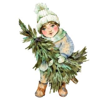 Aquarellweinleseillustration, nettes kleines mädchen im weißen hut hält weihnachtsbaum, grußkarte des neuen jahres