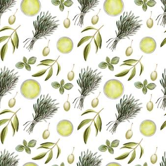 Aquarellzeichnung nahtloses muster mit blättern, früchten und olivenöl. öl und aromatische kräuter
