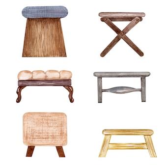 Aquarellzeichnung satz gepolsterte stühle und bänke. innenelement