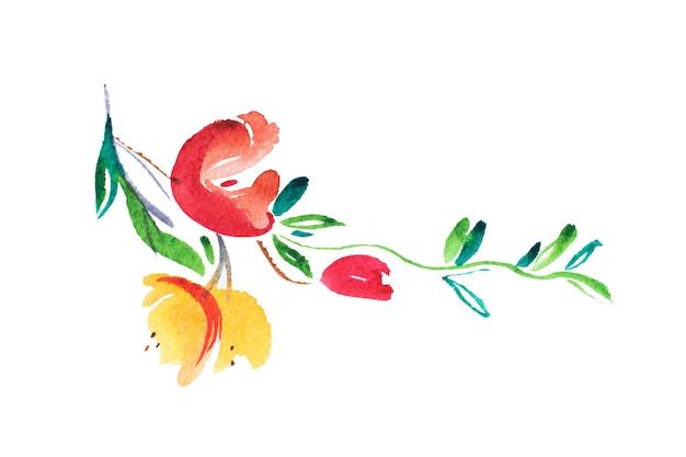 Aquarellzeichnung von frischen gartenblumen, sommerwiesenstrauß-aquarellmalerei.