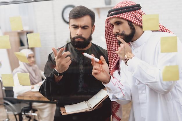 Arabische männer geschäftsleute diskutieren finanzielle problem.