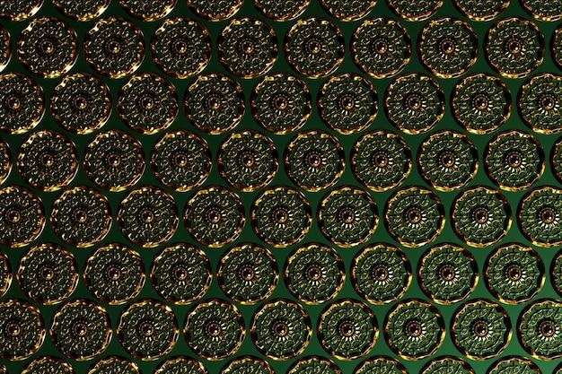 Arabischer musterhintergrund der illustration 3d. arabisches design aus kupfer runder ornament für ramadan kareem. islamisches dekoratives buntes mosaikdetail.
