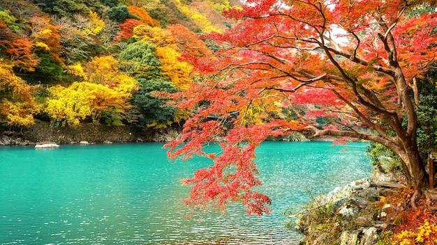 Arashiyama in der herbstsaison entlang des flusses in kyoto, japan.