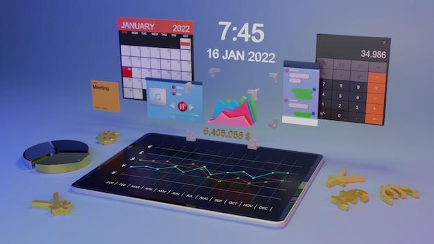 Arbeiten am hologramm-tablet. 3d-rendering