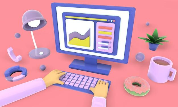 Arbeiten an laptops und computern zu hause, 3d, illustration