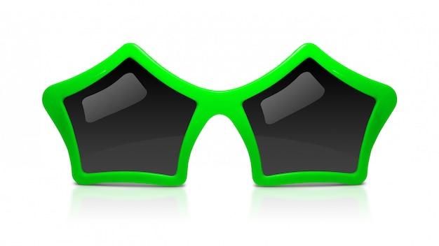 Arbeiten sie sonnenbrille mit der sternform um, die auf weißem hintergrund lokalisiert wird.