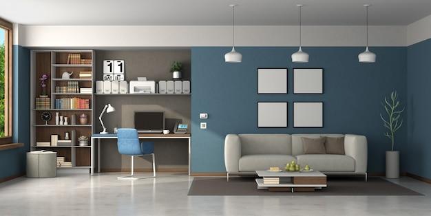 Arbeiten sie zu hause in einem großen wohnzimmer mit braunen und blauen wänden