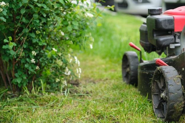 Arbeitender rasenmäher auf grünem rasen mit beschnittenem gras