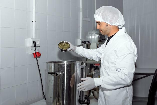 Arbeiter, der tee in kombucha gießt, der in der lebensmittelfabrik macht