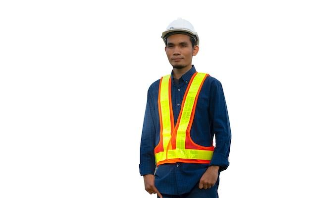 Arbeiter ingenieur engineering architektur bau auf weißem hintergrund