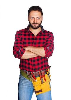Arbeiter mit kariertem hemd