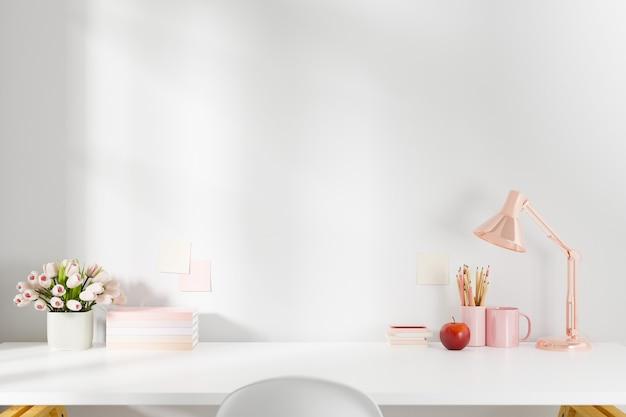 Arbeitsbereich home-office-schreibtisch liefert am büroarbeitsplatz. 3d gerendert.