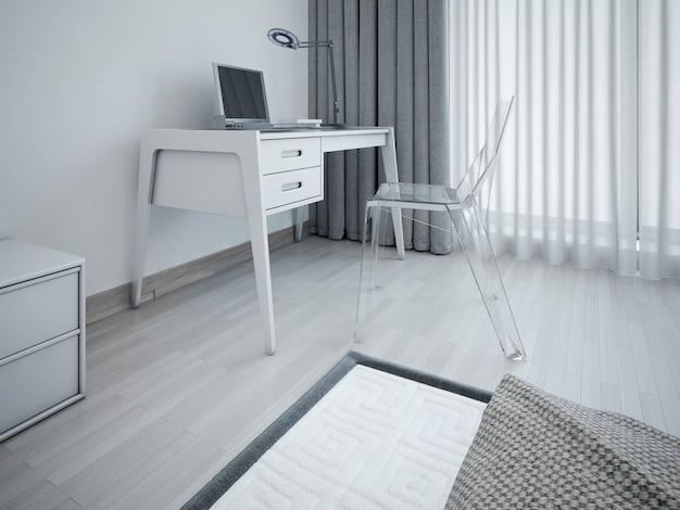 Arbeitsbereich im minimalistischen schlafzimmer und stilvoller arbeitsplatz im schlafzimmer in der nähe des fensters sowie transparenter designerstuhl und grauer tisch.