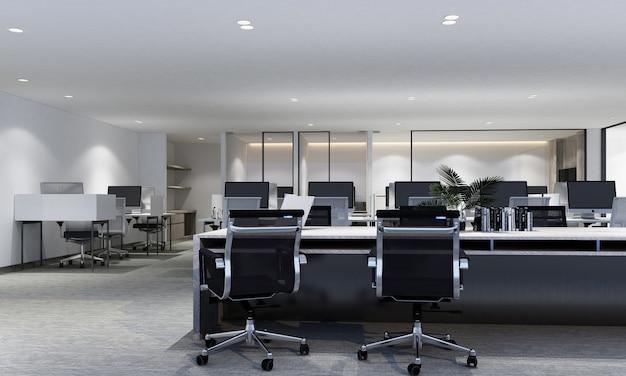 Arbeitsbereich im modernen büro mit teppichboden und innenraum-3d-darstellung des besprechungsraums