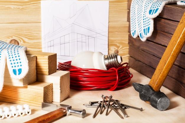 Arbeitsgeräte und hausgestaltung